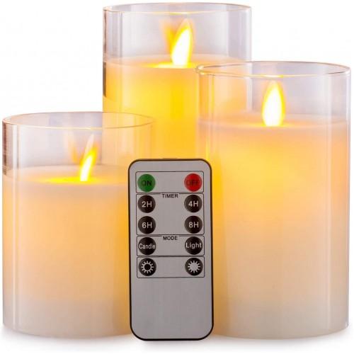 3 stk. LED Bloklys - Transparent