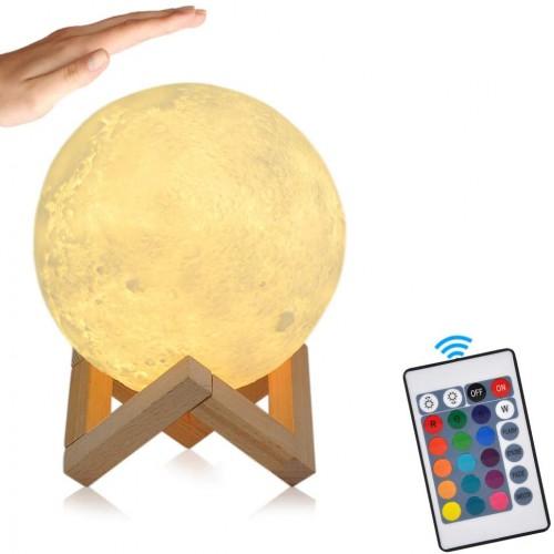 3D LED Månelampe - 12 cm