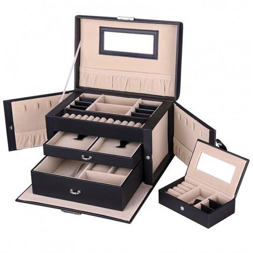 AVERY XL Smykkeskrin i læder med 20 rum, sort