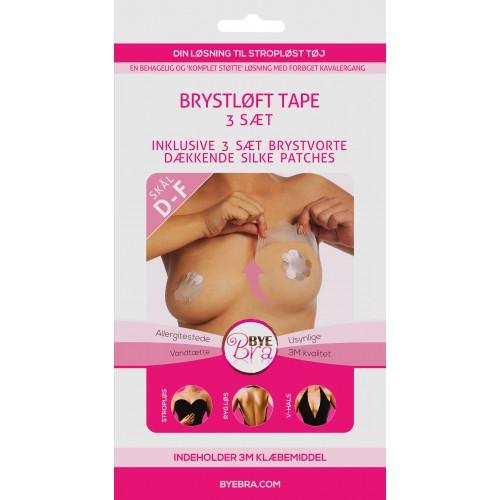 ByeBra® Brysttape med brystvorteskjulere af satin - Skål: D, E, F