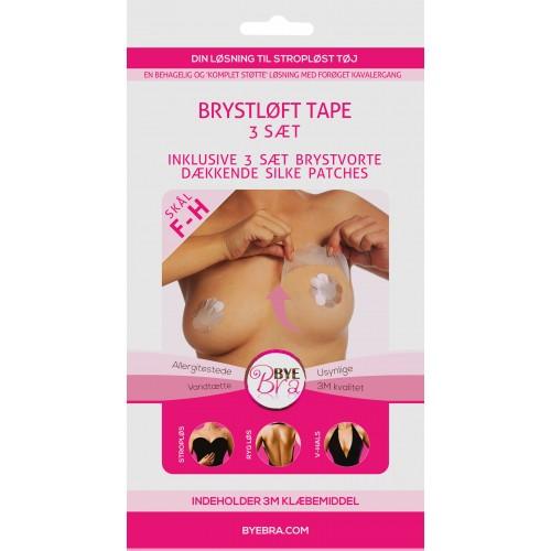 ByeBra® Brysttape med brystvorteskjulere af silke - Skål: F, G, H