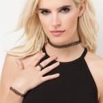 Choker halskæde, armbånd og fingerring - Klassisk Vintage stil