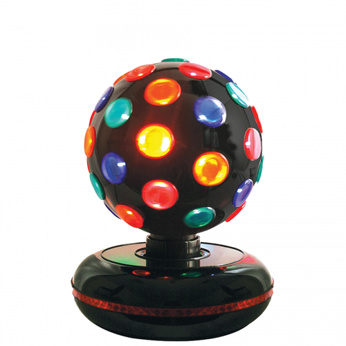 Diskokugle med kulørt roterende LED lys & musik, Brightly Light str. M