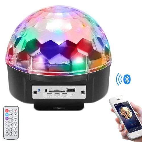 Diskokugle med LED-diskolys, Bluetooth højttaler og fjernbetjening