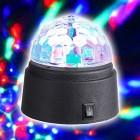 Diskokugle med roterende RGB lys - Batteridrevet