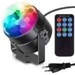 Diskokugle med roterende RGB lys og fjernbetjening (LED Party Light)