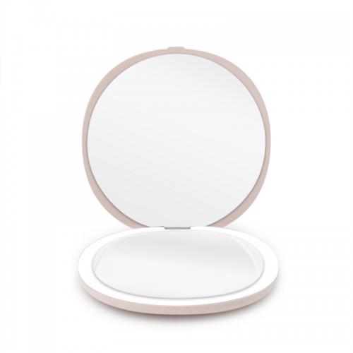 Dobbeltsiddet Kompakt Rejsespejl med LED (5x forstørrelse) - Lyserød