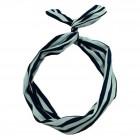 Flexi Hårbånd med ståltråd -sort / hvide striber