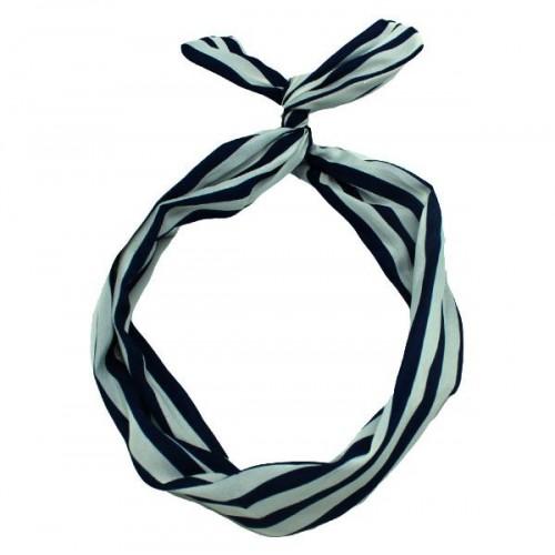 Flexi Hårbånd med ståltråd - sort / hvide striber