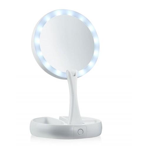Foldbart Makeup spejl med lys LED og 10x forstørrelse