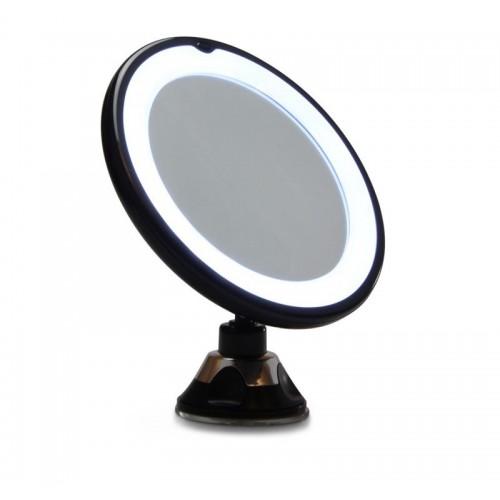 Gillian Jones Spejl med LED Lys og sugekop x10 forstørrelse, Sort
