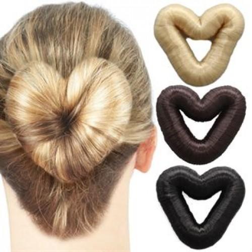 Hair Donut Hjerteformet med kunstigt hår 5 cm