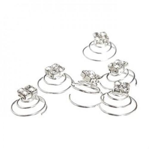 Hair Spinners med krystaldiamanter - 6 stk