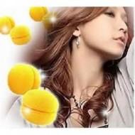 Hair Sponge curler balls 6 stk gul - skumcurler