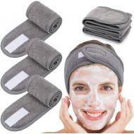 Hårbånd med velcro-lukning til vask af ansigt - Grå