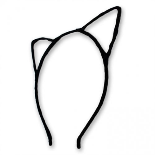 Hårbøjle med katteører - Sort