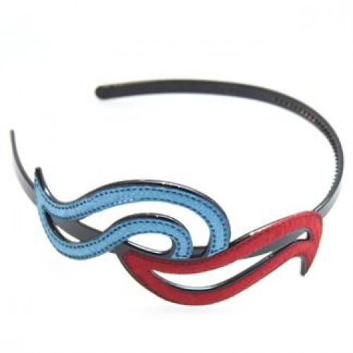Hårbøjle Swirl - blå & rød