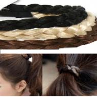 Hårelastik –Flettet syntetisk hår –flere farver