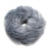 Hårelastik med pels - Faux Scrunchie, grå
