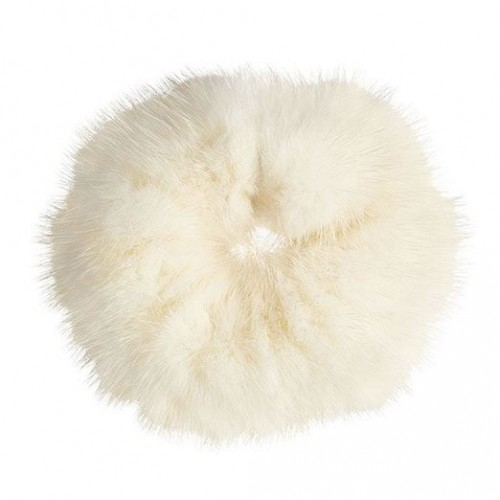 Hårelastik med pels - Faux Scrunchie, hvid