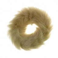Hårelastik med pels - Faux Scrunchie, natur
