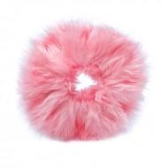 Hårelastik med pels - Faux Scrunchie, pink