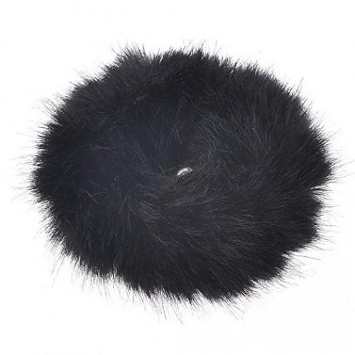 Hårelastik med pels - Faux Scrunchie, sort