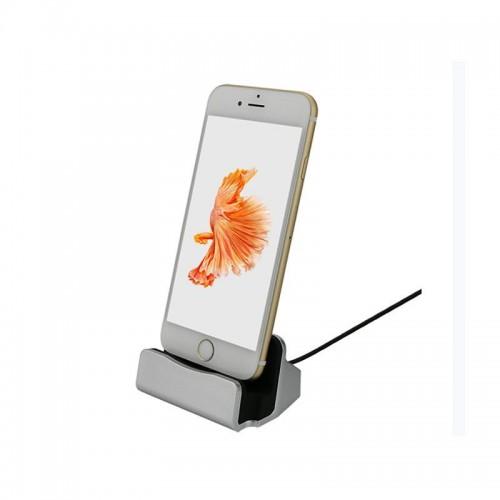 iPhone charging dock ladestation i aluminium - USB med lightning stik, sølv