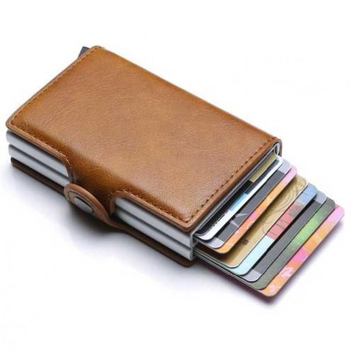 MySafe kortholder læderpung med popup & RFID beskyttelse - Brun