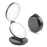 Kompakt dobbelt rejsespejl med LED (10x forstørrelse) - Sort