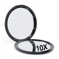 Kompakt dobbeltsidet spejl med 10x forstørrelse - Sort