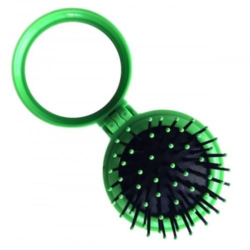 Kompakt makeup spejl med børste - grøn