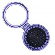 Kompakt makeup spejl med børste - Lilla