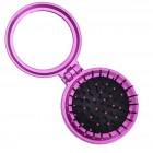 Kompakt makeup spejl med børste - pink