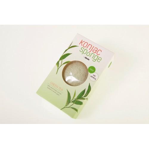 Konjac Dry Sponge Half Ball Green Tea ( til ansigt )