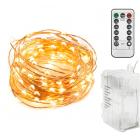 LED Lyskæde med batteriholder og fjernbetjening - Copper