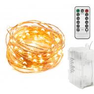 LED Lyskæde med batteri og fjernbetjening - Copper