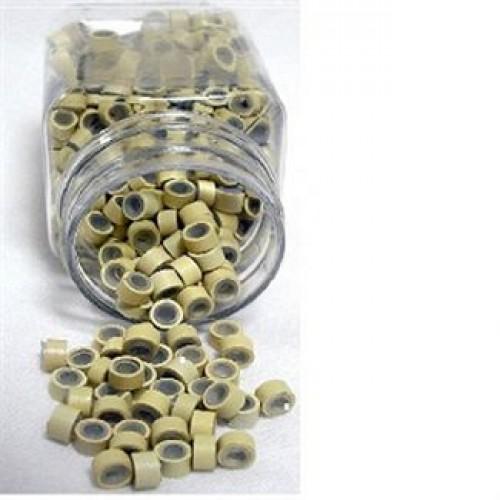 Microringe med silikone til extensions - Blond 500 stk.