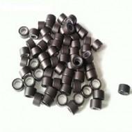 Microringe med silikone til extensions - Brun 100 stk