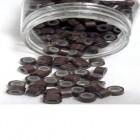 Microringe med silikone til extensions - Brun 500 stk.