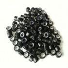 Microringe med silikone til extensions - sort 100 stk