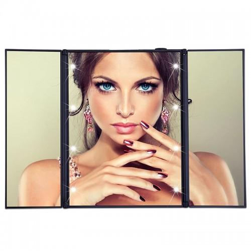Monoko® Vanity Tri-fold Makeup Spejl med LED lys, sort