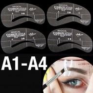 Øjenbryns Skabeloner - Eyebrow Stencils (A1-A4) - 4 stk.