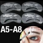 Øjenbryns Skabeloner - Eyebrow Stencils (A5-A8) - 4 stk.