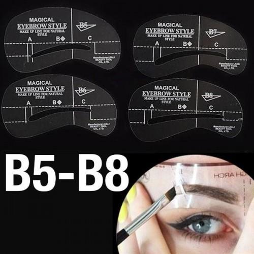 Øjenbryns Skabeloner - Eyebrow Stencils (B5-B8) - 4 stk.