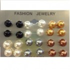 Perleøreringe i forskellige farver, 12 par