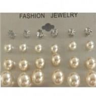 Perleøreringe I marmor, 12 par