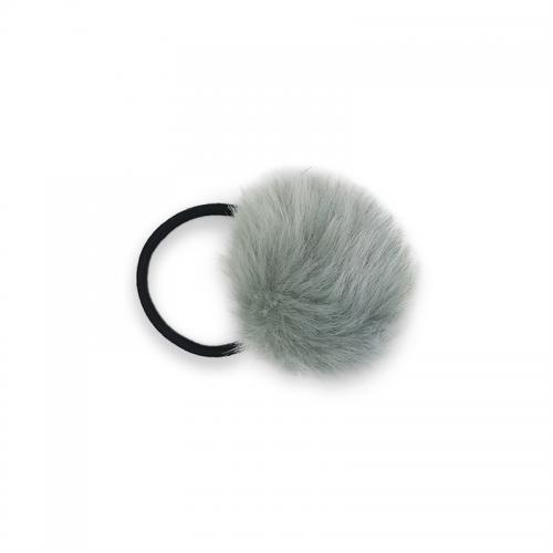 Pom Pom Pels med hårelastik - Grå