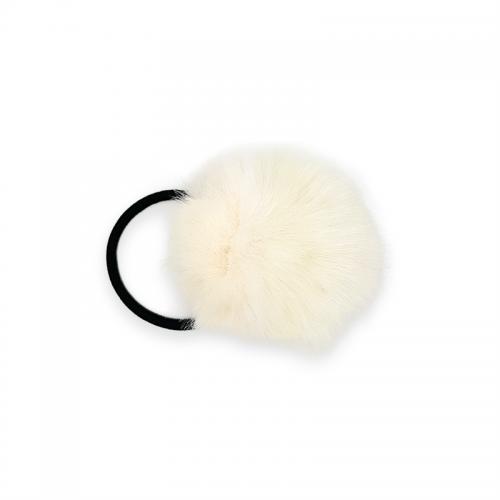 Pom Pom Pels med hårelastik - Naturhvid