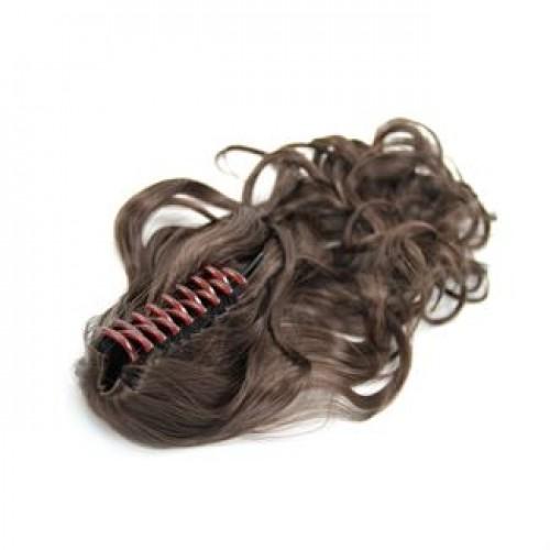 Ponytail Hestehale med hårklemme, Curly - brun #4